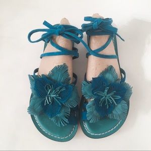 Bernardo Michelle Suede Flower Lace Tie Sandals